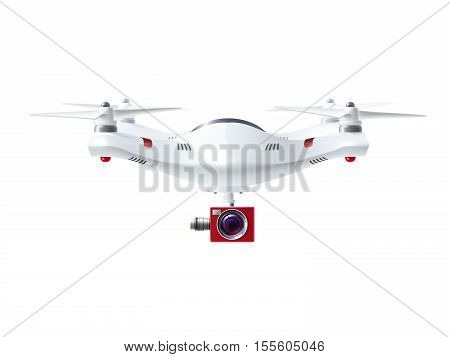 Single white drone with red camera for photography or video surveillance in realistic style isolated vector illustration