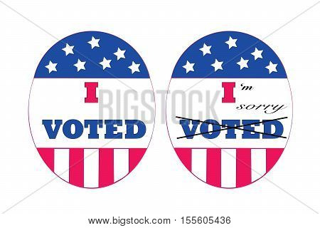 I Voted stickers in red white and blue with I'm sorry written across one expressing voters remorse.