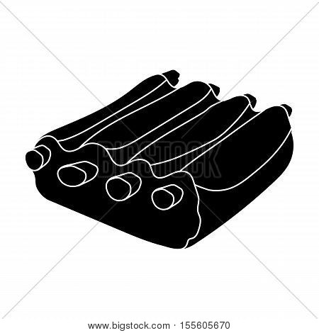 Pork ribs icon in black style on white background. Meats symbol stock vector illustration