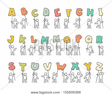 Cartoon icons set of sketch little people with letters. Doodle cute workers with alfabet. Hand drawn vector illustration for education design.