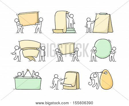 Cartoon set of sketch little people with blank spaces. Doodle cute workers with banners. Hand drawn vector illustration for business design.