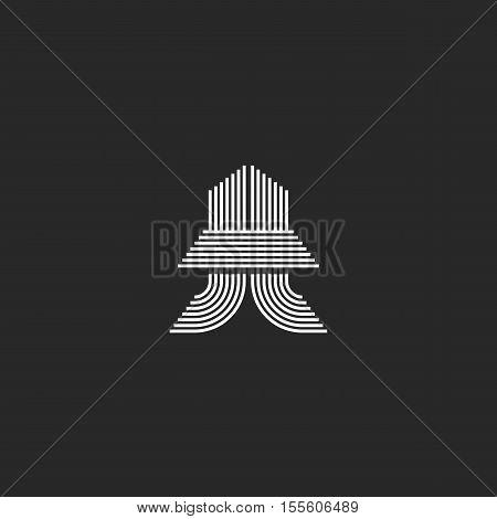 Logo Tt Letter Monogram Initials Creative Idea Black And White Emblem, Hipster Uppercase T T Togethe