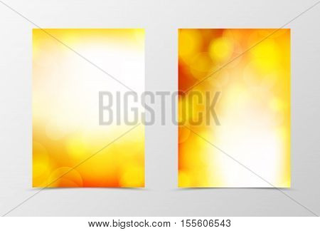 Front and back bright flyer template design. Abstract template in orange colors with transparent spots in soft style. Vector illustration