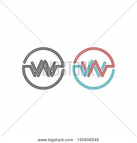 Logo W, Intersection Letters Ww Circles Frame Monogram, Abstract Pulse Wave Shape Round Border