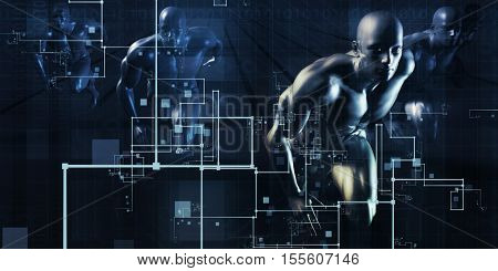 Secure Technology Network on Web Data Transfer 3d Illustration Render