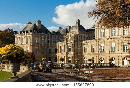Paris France-November 06 2016: The Luxembourg palace it was originally built (1615-1645) to be the royal residence of Marie de Medici mother of louis XIII. Since of 1958it has been the seatof the French Senate.