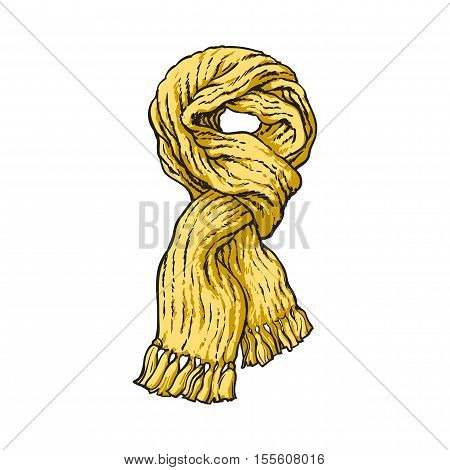 Bright yellow slip knotted winter knitted scarf with tassels, sketch style vector illustrations isolated on white background. Hand drawn fluffy woolen scarf tied in slip knot, winter accessory