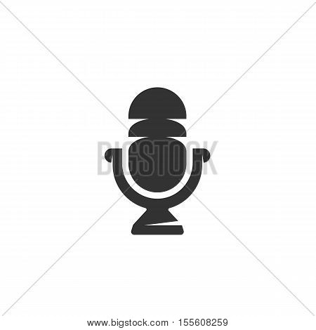 Microphone icon isolated on a white background. Logo silhouette design template. Simple symbol concept in flat style. Abstract sign, pictogram for web, mobile and infographics - stock vector