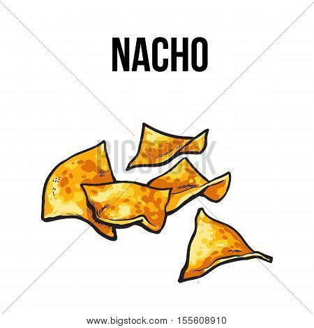 Nachos, traditional Mexican food made, sketch style vector illustration on white background. Hand drawn Mexican nachos, tortilla chips serves