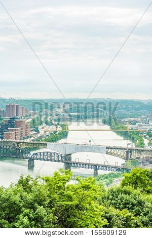 Vertical view of Pittsburgh city cityscape or skyline on overcast day with Liberty bridge and Monongahela river