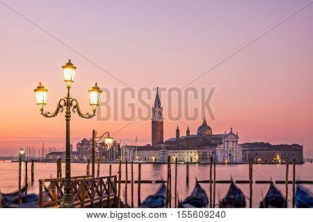 Scenic View Of San Giorgio Maggiore, Gondolas And Lamp, Venice