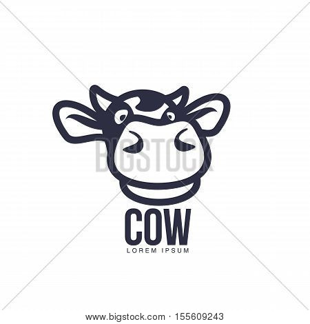 Funny cow head logo template, cartoon vector illustration on white background. Cute, smiling, funny front view cow head for dairy, beef, farm products logo design