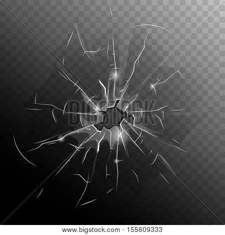 Broken window pane with hole cracks and scratches on half dark transparent background vector illustration