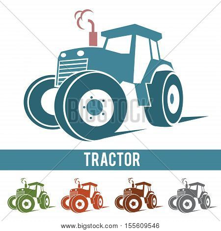 Tractor farm abstract icon logo isolated on white background .