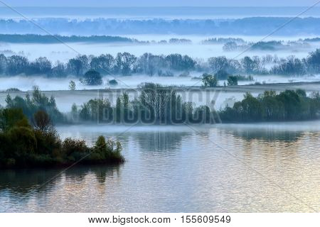 Spring. The morning fog lies along the Volga's banks.