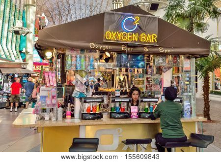 Las Vegas, USA - May 9, 2014: Oxygen bar with people on Fremont strip in old town