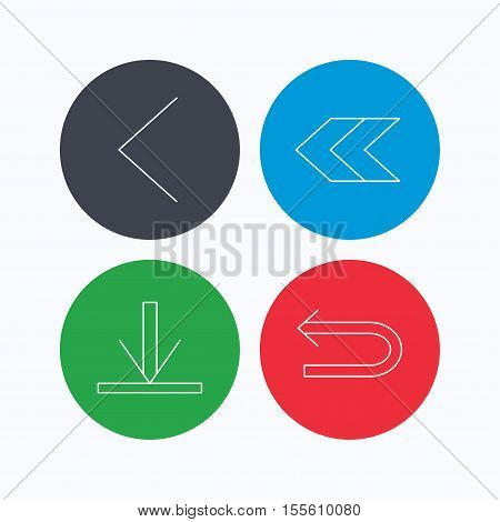 Arrows icons. Download, left direction linear signs. Next, back arrows flat line icons. Linear icons on colored buttons. Flat web symbols. Vector