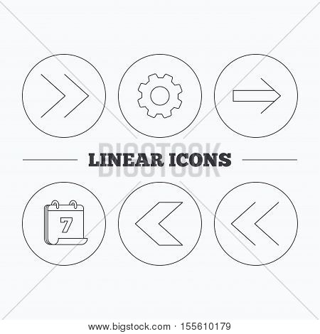 Arrows icons. Left, right direction linear signs. Next, back arrows flat line icons. Flat cogwheel and calendar symbols. Linear icons in circle buttons. Vector