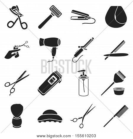 Hairdressery set icons in black style. Big collection of hairdresser vector symbol stock