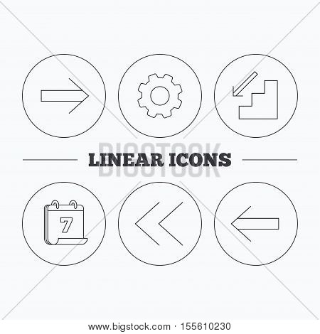 Arrows icons. Downstairs, next and back linear signs. Next, back arrows flat line icons. Flat cogwheel and calendar symbols. Linear icons in circle buttons. Vector