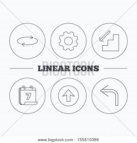 Arrows icons. Upload, repeat and shuffle linear signs. Turn left, downstairs arrow flat line icons. Flat cogwheel and calendar symbols. Linear icons in circle buttons. Vector