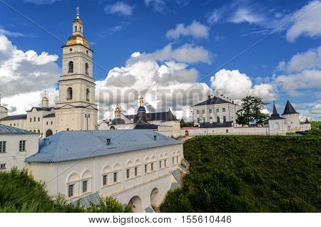 Tobolsk, Russia - July 15, 2016: Kremlin. View on Sofia vzvoz, Rentereya, belltower and St Sophia-Assumption Cathedral