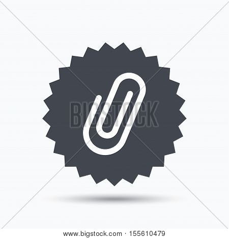 Attachment icon. Paper clip symbol. Gray star button with flat web icon. Vector