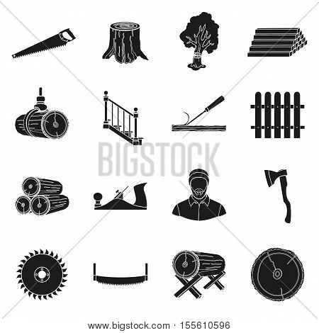 Sawmil and timber set icons in black style. Big collection of sawmill and timber vector symbol stock