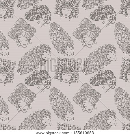 Sketches Of Girls With Different Hairstyles. Seamless Pattern