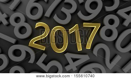 3D abstract illustration of 2017 year on a gray background