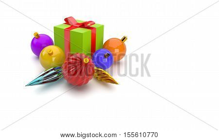 3D abstract illustration of giftbox and christmas balls on a white background