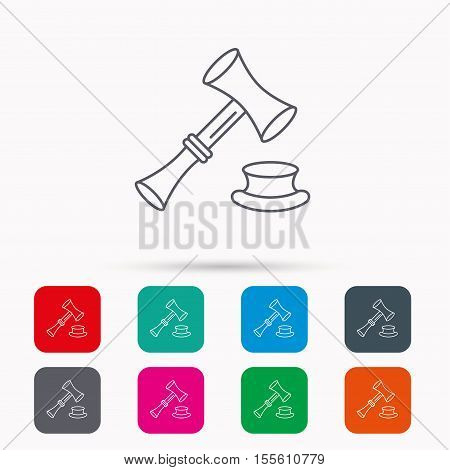 Auction hammer icon. Justice and law sign. Linear icons in squares on white background. Flat web symbols. Vector
