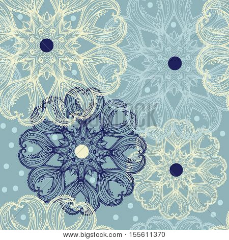 Seamless Pattern With Circular Ornaments Like A Snowflakes