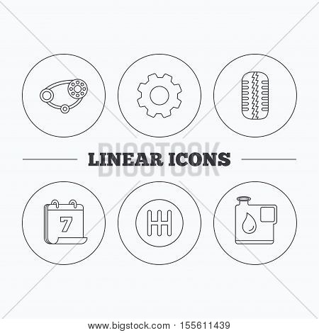 Wheel, manual gearbox and timing belt icons. Fuel jerrycan, manual transmission linear signs. Flat cogwheel and calendar symbols. Linear icons in circle buttons. Vector