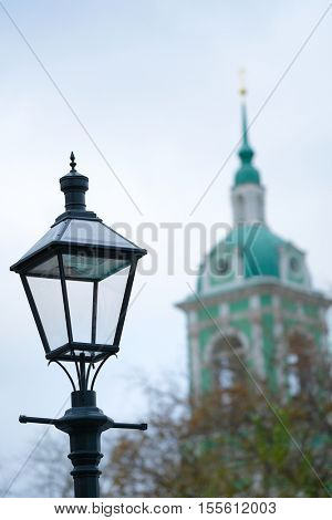 Veiw of a retro street lamp in a center of Moscow