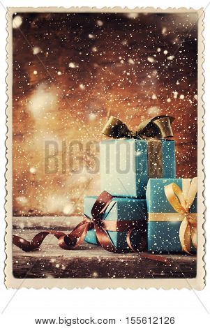 Christmas Gifts Festive Boxes Vintage Photo Frame