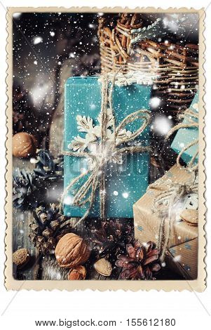 Boxes Cozy Decor Blue Paper Snowflake Retro Frame