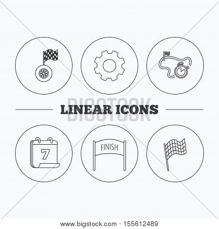 Finish flag, race timer and wheel icons. Race track linear sign. Flat cogwheel and calendar symbols. Linear icons in circle buttons. Vector
