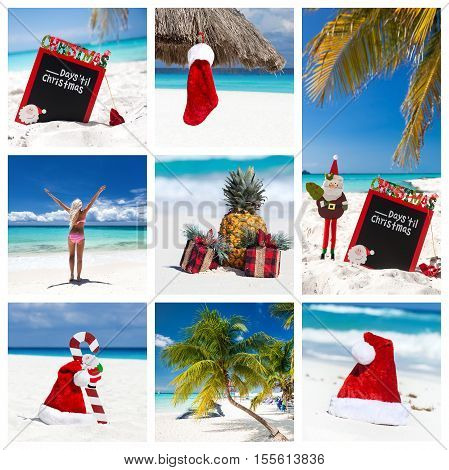 Christmas collage with different views on caribbean beach