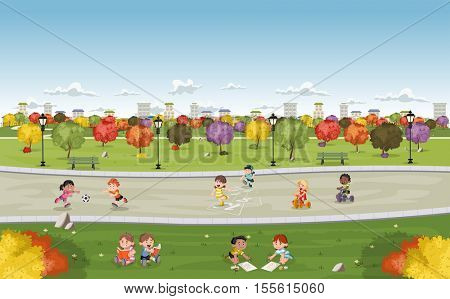 Colorful park in the city with cute cartoon kids playing. Sports and recreation.