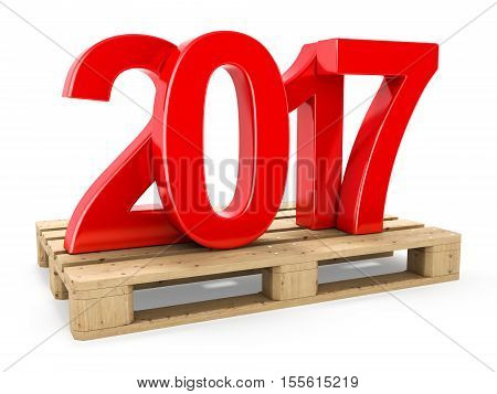 3D Rendering 2017 New Year Red Digits
