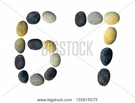Digits 6 7 made of pebbles on a white background.