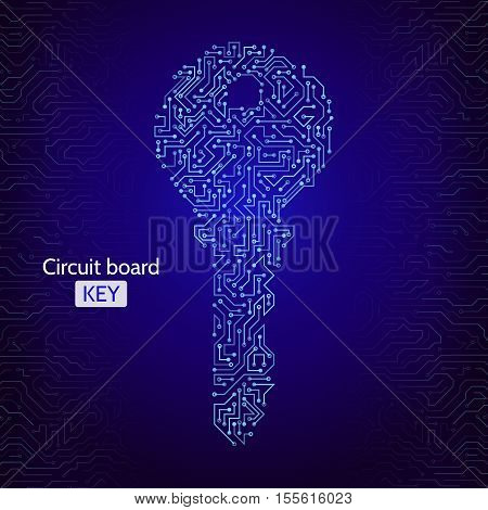 Circuit board key icon on the digital high tech style. Security concept. Abstract techno key. Vector background eps 10.