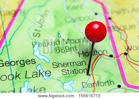 Sherman Station pinned on a map of Maine, USA