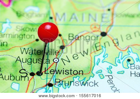Lewiston pinned on a map of Maine, USA