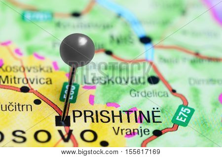 Pristina pinned on a map of Kosovo poster