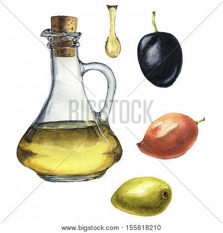 Watercolor olive set: olive oil, olives and drop of olive oil isolated on white background. Food illustration for design, background or fabric.