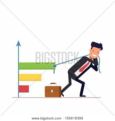 A businessman or manager draws the chart. The concept of profit growth in the form of a graph. Difficult labor. Vector, illustration EPS10