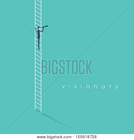 Business vision concept with businessman vector symbol standing on a ladder looking through monocular. Strategy and planning abstract. Eps10 vector illustration.