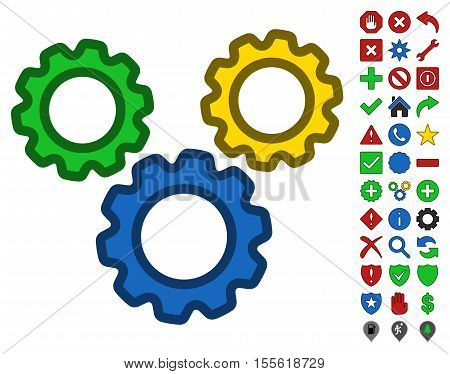 Options Gears interface toolbar icon with bright toolbar icon set. Vector pictogram style is flat symbols with contour edges.